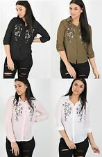 Womens Ladies Chiffon Floral Embroidered Shirt Top Blouse Collared Dress