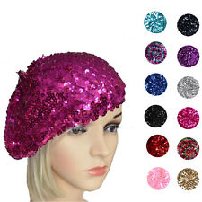 Ladies Girls French 70s Costume Party Dance Disco SEQUINED SEQUINS Hat BERET