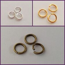 100 OPEN JUMPRING jump ring Findings Silver plated, Gold, Bronze 6-8mm
