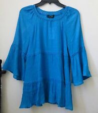 NWT Melissa Paige Size S Blue Long Sleeve Casual Peasant Blouse Crinkle