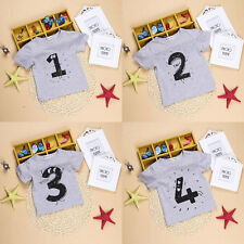 0-24M Baby Boys Girls Number Print T-shirts Summer Kids Tees Short-sleeved Tops