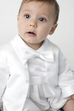 Stunning Baby Boys Christening Outfit Romper Christening Suit White/Ivory 2piece