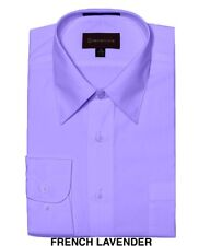 MEN DRESS SHIRTS BY DIMENSION COTTON BLEND SOLID COLOR BUSINESS SHIRTS LAVENDER