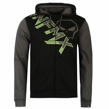 Mens Branded No Fear Warm Large Stitched Graphic Full Zip Hoody Top