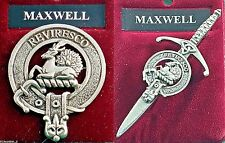 Maxwell Scottish Clan Crest Pewter Badge or Kilt Pin