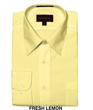 MEN DRESS SHIRTS BY DIMENSION CASUAL FIT SOLID COLOR BUSINESS SHIRTS LEMON