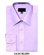 MEN DRESS SHIRTS BY DIMENSION FRENCH CUFF SOLID COLOR BUSINESS SHIRTS LILAC