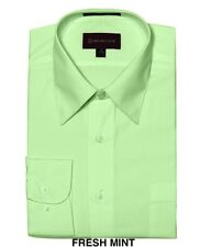 MEN DRESS SHIRTS BY DIMENSION CLASSIC FIT SOLID COLOR BUSINESS SHIRTS NEW MINT