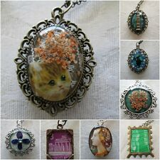 Handmade Hand Crafted Variety Framed Pendant  w/ Chain, Stamps, Flowers, Charms