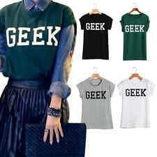 Women New Letters Print Casual O-Neck T-shirts Short Sleeve Slim Fit Tee Tops