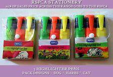 RSPCA HIGHLIGHTER PEN POUCH SETS Curled Cat Sleepy Dog Racing Hares 25% CHARITY