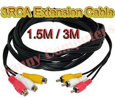 3 RCA Male to 3RCA Female Audio Video Composite Extension Adapter Cable DVD AU