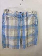 mens sz 30 AMERICAN EAGLE AE lite blue plaid flat front golf shorts preppy clean
