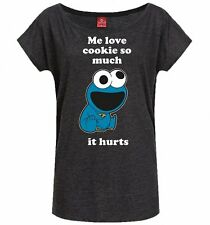 Official Women's Charcoal Marl Sesame Street Cookie Monster Love Cookie Slouch T