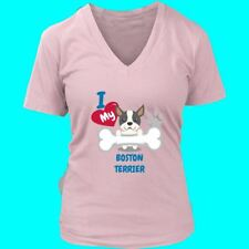 I Love my Boston Terrier Dog Womens V-Neck T-Shirt