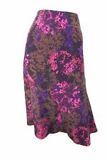 Marks & Spencer Classic Plum & Cerise Print Flippy Skirt with Elasticated Waist