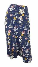 Marks & Spencer Classic Navy Floral Print Flippy Skirt with Elasticated Waist