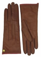 COACH Womens Cashmere Lined Gloves Brown Leather Logo Wrist Winter Glove 82821
