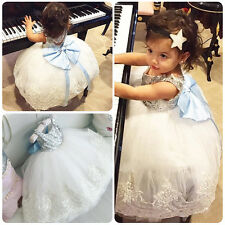 Kid Baby Flower Girls Bow Sequins Tulle Tutu Dress Princess Party Wedding Gown