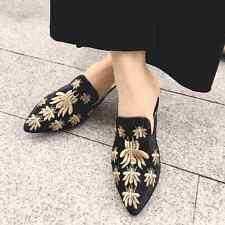 Suede Womens Flower Bee Pattern Low Heels Mules Fashion Flats Sandals Shoes New