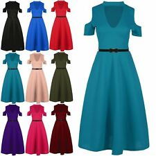 Womens Cold Cut Shoulder Flared Belted Ladies Choker Neck Swing Dress Plus Sizes