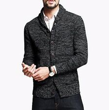 Solid Mens 100% Cotton Casual Lapel Long Sleeves Cardigan Sweater S M L XL XXL