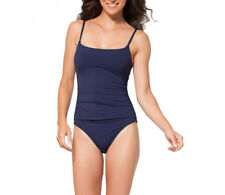 New Anne Cole Classic Navy Bathing Suit Ruched Pink One-Piece Swimsuit Sz 12-14