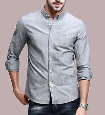 Mens Long Sleeve Botton Front Peaked Collar Striped  Casual Shirt Cotton M-XXL