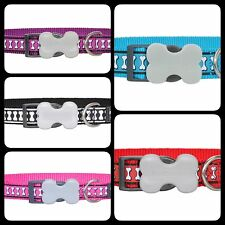 Red Dingo Reflective Nylon Bones Dog COLLAR - Choice of Colours and Sizes