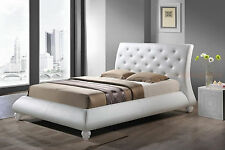 MODERN WHITE FAUX LEATHER BUTTON TUFTED HEADBOARD PLATFORM BED QUEEN KING SIZE