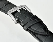 Replacement BREITLING  Black Leather Watch 22/24mm  Strap Stainless Steel Buckle