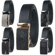 Mens New Genuine Leather luxury Leisure Belts Automatic Buckle Black Waist Strap