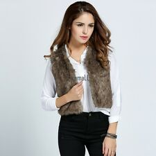 New Fashion Women Casual Sleeveless Faux Fur Short Jacket Vest Coat Outwear LM02