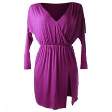 Purple Ladies Cocktail Dresses Sexy Batwing Sleeve Pleated Party Bodycon Dress