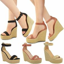 Womens Ladies Espadrilles Summer Wedges High Heels Strappy Party Sandals Size