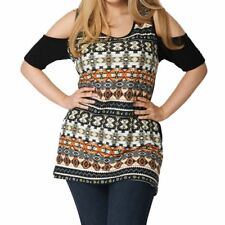 Brown / grey multi coloured open shoulder plus size top