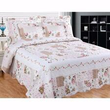Shabby Roses Floral Pink White Beige Country Cottage Chic Quilt Set King Queen