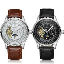 New Mens Leather Moon Phase Stainless Steel Skeleton Automatic Mechanical Watch