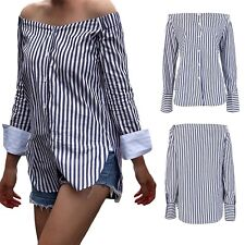 Fashion Off-shoulder Long Sleeve Blouse Women Striped T-shirts Casual Tops S-XL