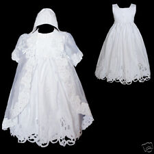 New Baby Girl Baptism Christening Formal Dress Gown size New Born -30 M White