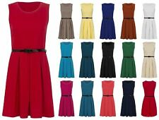 NEW WOMENS SLEVELESS BELTED FLARED PARTY SKATER DRESS LADIES PLUS SIZE TOP
