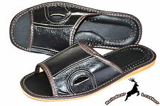Mens Real Leather Black House Slippers Shoes Sandal Handmade Flip Flop Mule Soft