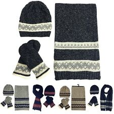 Womens Ladies Woolly Thick Knit Hat Scarf And Mitten Gloves Set Unisex Warm US