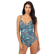 Beach Collection Womens Turquoise Floral Print Tummy Control Swimsuit