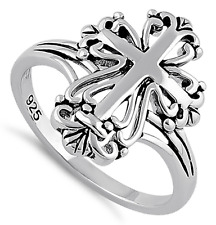 New 925 Sterling Silver Cross Ring Ornate Christian Jewelry Gothic Celtic
