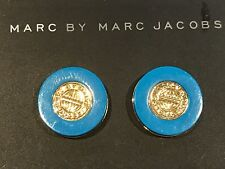 Marc By Marc Jacobs  Dynamite Coin Stud Earrings Bermuda Blue Turqoise NWT
