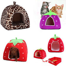 Soft Warm Pet Dog Cat Bed House Kennel Doggy Puppy Strawberry Cushion Basket Pad