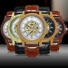 Fashion Retro Mens Leather Steel Case Skeleton Automatic Mechanical Wrist Watch