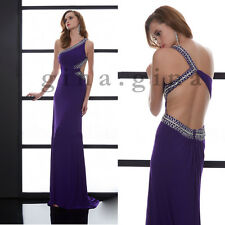 One Shoulder Party Dress2017New Lavender Satin Formal Prom Dresses Evening Gowns