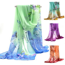 Womens Ladies Medium Long Chiffon Stole Scrawl Flower Wrap Soft Scarf Glitzy